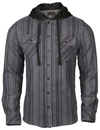 9 Crowns Men's Lightweight Hoodie Plaid Flannel Shirt-Charcoal-S
