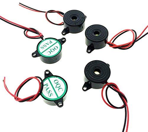 DC 3-20V 85dB Active Piezo Buzzer Continuous Sound Electronic Alarm Black 23 x 11mm(5Pcs)
