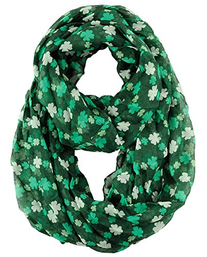 D&Y Women's St. Patrick's Day Lucky Clover Sheer Infinity Loop Scarf, Shamrock, Green