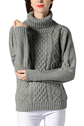 Sophieer Womens Sweaters Cable Knit Vintage Turtleneck Pullover Long Sleeve Jumper S-L