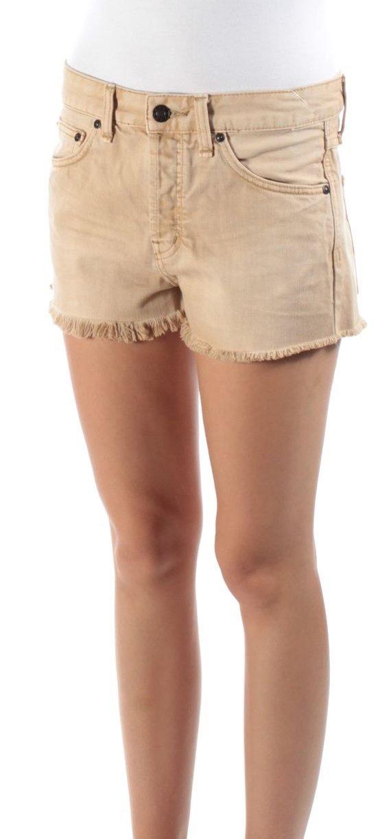 Free People Womens Uptown Frayed Hem Button Fly Denim Shorts Beige 25