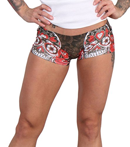 Hot Leathers Women's Sublimated Color Sugar Skull Boy Shorts (All-Over, X-Large)