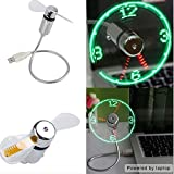 CooleedTEK Portable Flexible Mini USB Powered LED Cooling Flashing Clock Fan for Desktop Computers and Laptops for home and office as gift