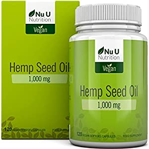 Hemp Seed Oil Softgels 1000mg Vegan | Hemp Oil Cold Pressed 120 Softgel Capsules 4 Month Supply | High Strength Vegan and Vegetarian Hemp Seed Oil Supplement with Omega 3 & Omega 6 | Made in The UK