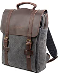 Grey Gravel Vintage Canvas & Leather Backpack for Women in Brown