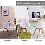 Waleaf Set of 4 Modern Dining Chair, DSW Side Chair with Soft Cushion, Eames Style Chair Armless Chair with Natural Wood Legs, Shell Lounge Plastic Chair for Bedroom, Living and Dining