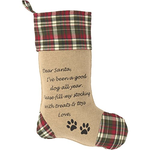 Burlap plaid Dog Stocking