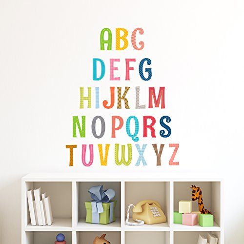 Decowall DA-1701A Uppercase Alphabet ABC Letter Kids Wall Decals Wall Stickers Peel and Stick Removable Wall Stickers for Kids Nursery Bedroom Living Room by Decowall
