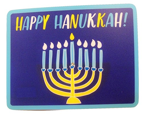 Hanukkah Reusable Poly Place Mat with Spin Dial ~ Happy Hanukkah (Golden Menorah with Candles You Determine How Many Appear Lit; 14