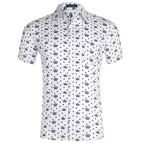 Shirt Original Printed Short Sleeve Button Down Summer Casual Fashion 3D Color Print Trend Color Shirt Blouse Mens (XXL,6- White) -