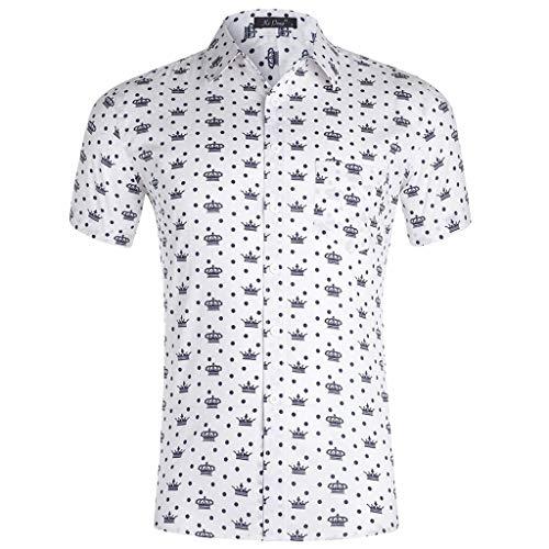 Shirt Original Printed Short Sleeve Button Down Summer Casual Fashion 3D Color Print Trend Color Shirt Blouse Mens (XXL,6- White)