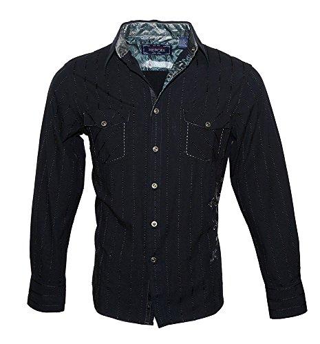 Long Sleeve Custom Embroidered Highway to Hello Shirt 129B (L) Black -