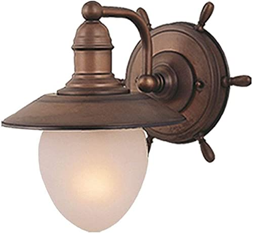 Vaxcel Lighting WL25501RC Nautical – Indoor One Wall Mount, Antique Red Copper Finish with Frosted Glass