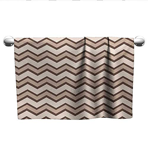(Tan,Hand Towels Classic and Fashionable Chevron Zigzag Pattern Waves Geometric Retro Style Tiling Quick-Dry Towels Brown and Tan W 20