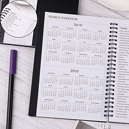 Large Product Image of 2019 Planner - Weekly & Monthly Planner 2019, Flexible Cover, 12 Monthly Tabs, Twin-Wire Binding with Two-Sided Inner Pocket, 5