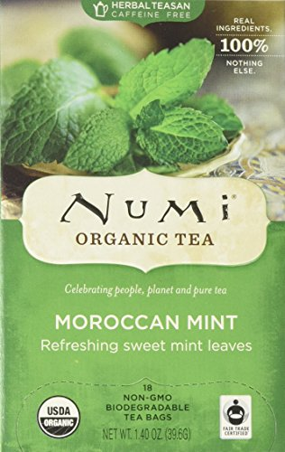 Numi Organic Tea Moroccan Mint, 18 Count Box of Tea Bags, Herbal - Organic White Peppermint Tea