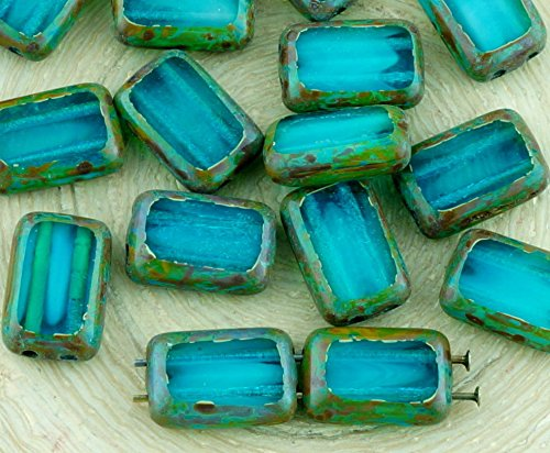 8pcs Picasso Brown Crystal Turquoise Aqua Blue Moonstone Moonlight Opal Table Cut Flat 2 Two Hole Rectangle Czech Glass Beads 8mm x ()
