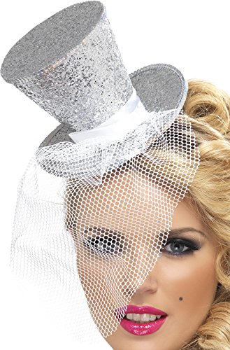 Fever Women's Mini Top Hat on Headband, Silver, One Size, (Silver Top Hat Costume Hats)