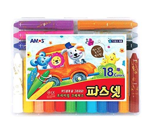 (Premium Oil Pastel AMOS Pasnet Classic 18 Colors Non-toxic Silky Crayon)