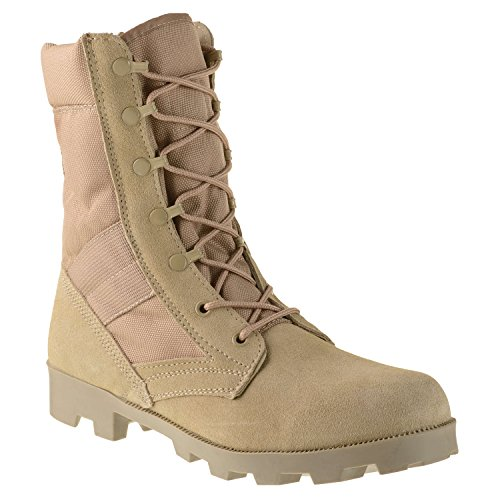 "Ameritac 9"" Side Zip Suede Leather Combat Work Outdoor Men's Desert Tan Boots"