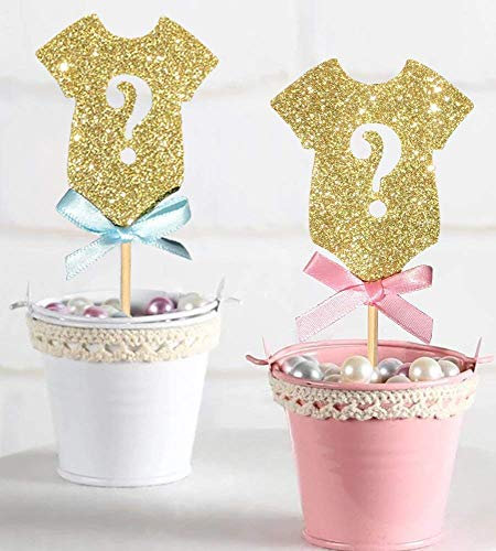 ALISSAR 30-Pack Glitter Gender Reveal Cupcake Toppers, Gender Reveal Baby Shower Party Cake Food Decoration Supplies