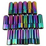 JDMSPEED Neo Chrome 20PCS Extended Forged Aluminum Tuner Racing Lug Nut For Mustang 1/2-20 NEW