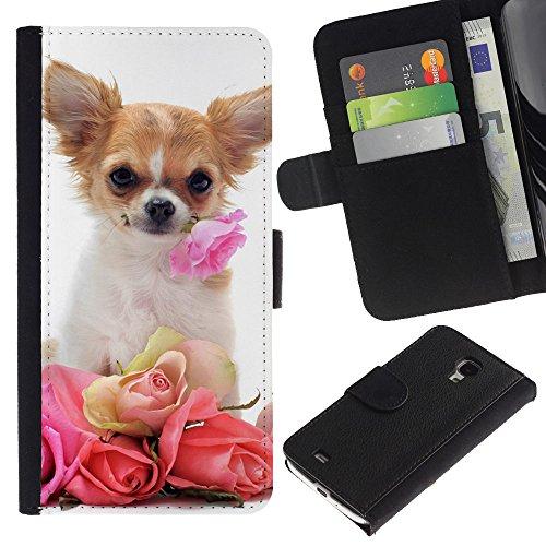 OMEGA Case / Samsung Galaxy S4 Mini i9190 MINI VERSION! / Chihuahua roses valentine dog pet / Cuero PU Delgado caso Billetera cubierta Shell Armor Funda Case Cover Wallet Credit Card