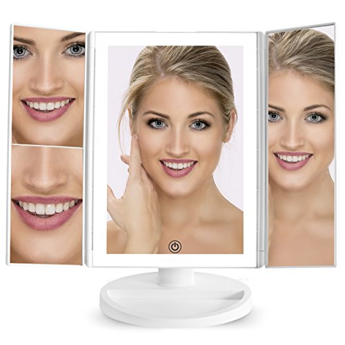 Prosper Beauty LIT Lighted Makeup Mirror Vanity 36 LED Lights Bright Natural Beauty Cosmetic Travel Trifold 1x/2x/3x Magnification USB Charging 180 Degree Adjustable Stand (White)
