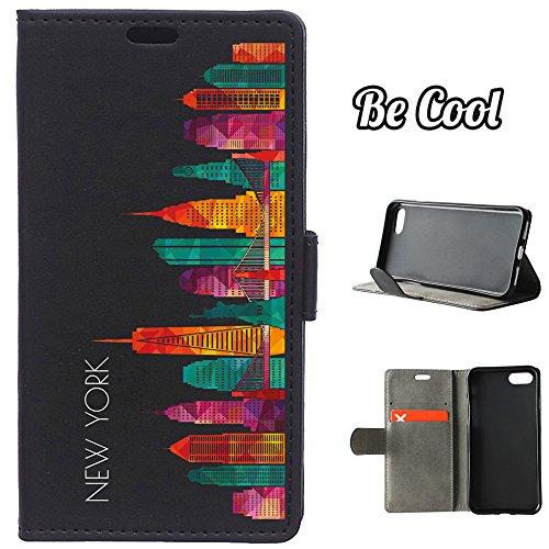BeCool® - Housse étui [portefeuille] iPhone 7 Plus, [Fonction support], protège et s'adapte a la perfection a ton Smartphone. Elegan Wallet. Fleurs roses