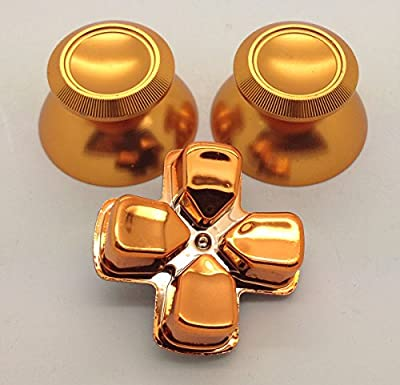 Metal Gold Thumbsticks + Chrome Gold D-pad For Sony Dual Shock 4 PS4 Controller Mod Kit by e-Mods
