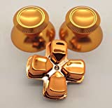 E-MODS GAMING® Custom Metal Gold Thumbsticks Analogue Thumb Sticks&Gold Chrome D-pad for Sony Playstation 4 PS4 Controllers