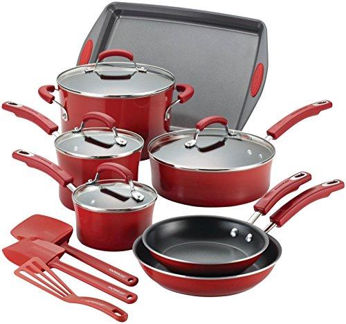 Rachael Ray 14267 14-Piece Aluminum Cookware Set, Red ()