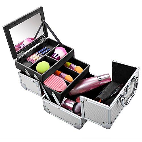 Homdox Mini Makeup Train Case Aluminum Cosmetic Box With Mir