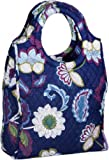 Durable Blue Flower-designed Large Tote Bag with Handles & Coin Purse - 100% Cotton Travel Sports Gym Handbag