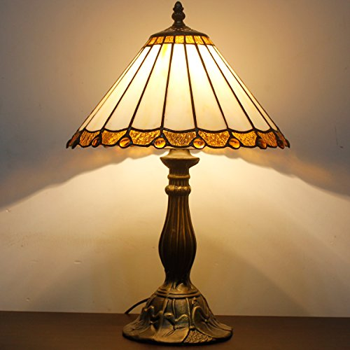 Tiffany style table lamp light S037 series 18 inch tall white simply shade E26 - Antique Partners Desk