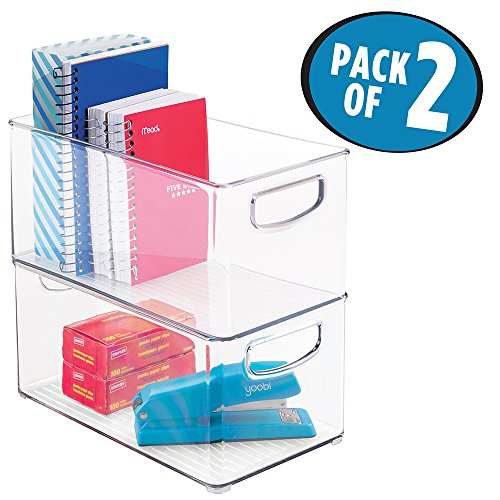 mDesign Office Supplies Desk Organizer Bin for Scissors, Notepads, Markers, Pencils - Pack of 2, Medium, Clear