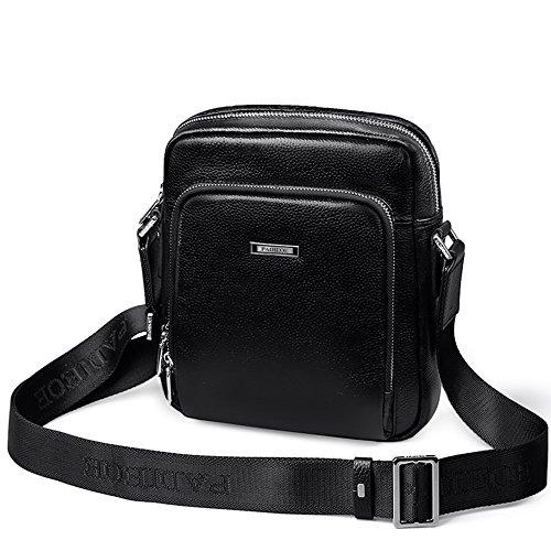 Padieoe piel aut¨¦ntica bolso de mano moda bolsa de mensajero bolso de hombro para hombres Negro Negro
