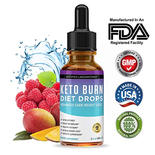 Keto Diet Supplement Drops Shred Burn Ketones for Faster Ketosis Weight Loss Appetite Suppressant Loose Unwanted Belly Fat Raspberry Ketone African Mango Advanced Dietary Blend Made in USA 1 Bottles