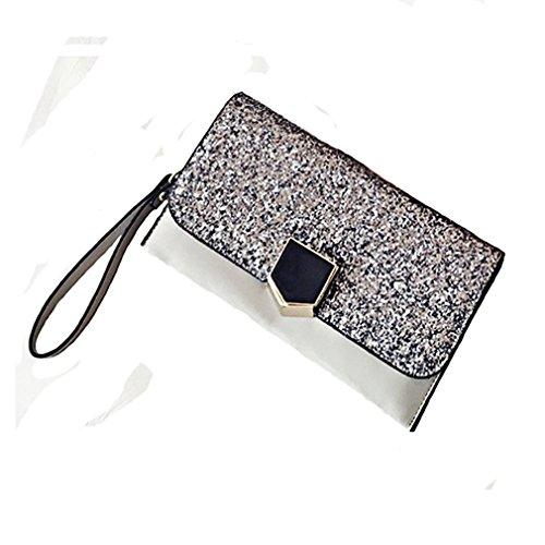 Gray Chain Shouder Bag Purse Strap Party Wedding Handbag YANXH With Womens Leather For Wristlet Envelope Elegance Cocktail Evening Bag Clutch nv70Hq