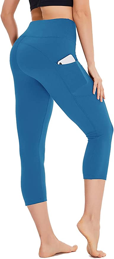 STELLE Womens Capri Yoga Pants with Pockets Essential High Waisted Legging for Workout