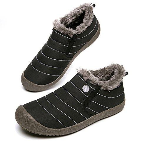 eacho Snow Boots Waterproof Non-Slip, Super Lightweight Warm Fashion Stripes Outdoor Ski Boots For Women Men Black/Low Top