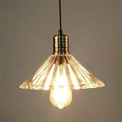 Hines Industria Retro triángulo Cristal Sombra de lámpara ...