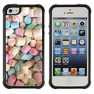 Fuerte Suave TPU GEL Caso Carcasa de Protección Funda para Apple Iphone 5 / 5S / Business Style marshmallow sweets candy pastel color