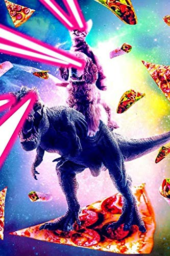 Space Laser Cat Rides Dog Riding Dinosaur On A Pizza Notebook: Journal Paper Composition Notebook