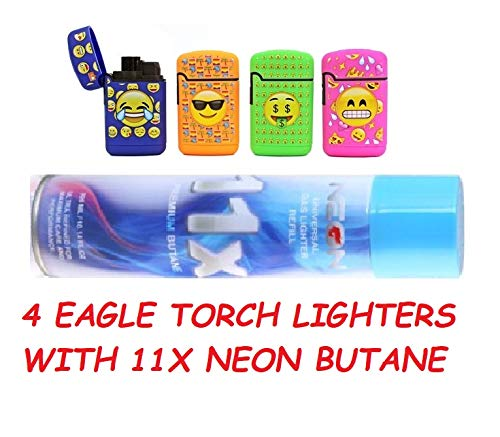 1 Cans NEON 11X Butane Refill Fuel Fluid Lighter Ultra Refined 10.14 oz and Emoji Torch Lighter Adjustable Flame Windproof Butane Refillable 4 Pack]()