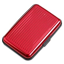 Red Aluminum Wallet For Card Protection - Durable Hard Credit Card Holder For Men & Women Best Protection For Your Bank Debit, ID, ATM, Cards Against Scanning Criminals - By Katzco