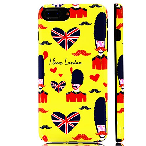GoldSwift Cute Cartoon Flexible Soft Rubber Gel Case for iPhone 8 Plus, iPhone 7 Plus, iPhone 6S Plus and iPhone 6 Plus (British Royal Guard Saying I Love London)