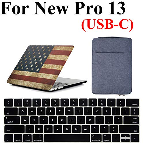 - New MacBook Pro 13 Inch Case 3 in 1 Bundle, iZi Way American Flag Case with Denim Sleeve Bag, Black Keyboard Cover for Mac Pro 13