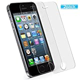 #10: [2 Pack] iPhone 5/5C/5S/SE Screen Protector, Premium Tempered Glass with 9H Hardness [High Definition] [anti-Fingerprint] for iPhone 5, iPhone 5C, iPhone 5S, iPhone SE