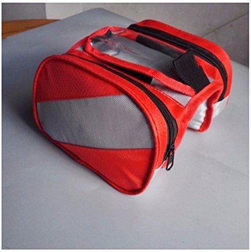 Fahrrad Satteltaschen vorderen Tasche Touch-Screen Mountainbike Sattel Bag Pipe vorderer Träger Handy Pakete Radfahren Zubehör Bike Rack Taschen, Rot